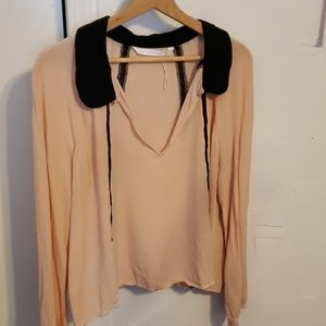 Zara loose top Blush black XL with lace inserts